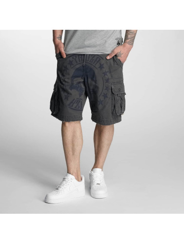 Yakuza Herren Shorts Skull Label in blau
