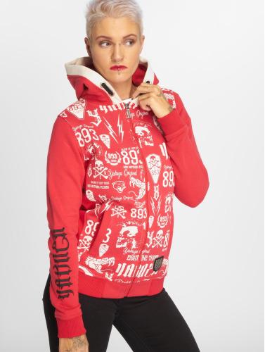 Yakuza Mujeres Sudaderas con cremallera Allover Label Flex in rojo