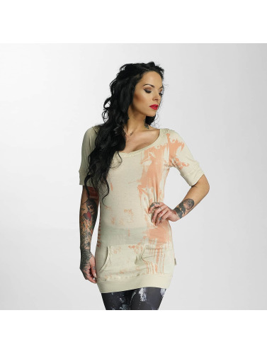 Yakuza Damen T-Shirt Unicorn Hooded in beige
