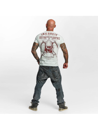 Yakuza Herren T-Shirt Tattoo Shop in blau