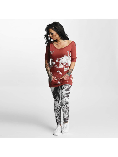 Yakuza Damen T-Shirt Wolf Hooded in rot