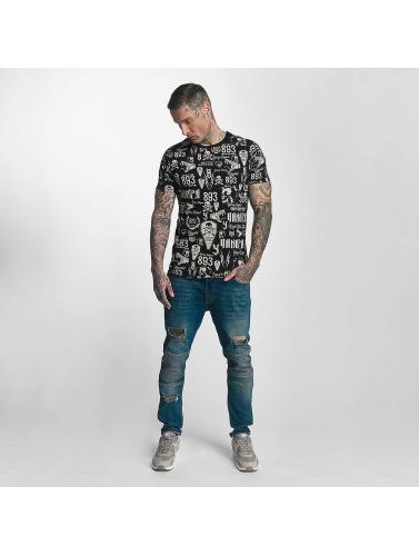 Yakuza Herren T-Shirt Allover Label in schwarz
