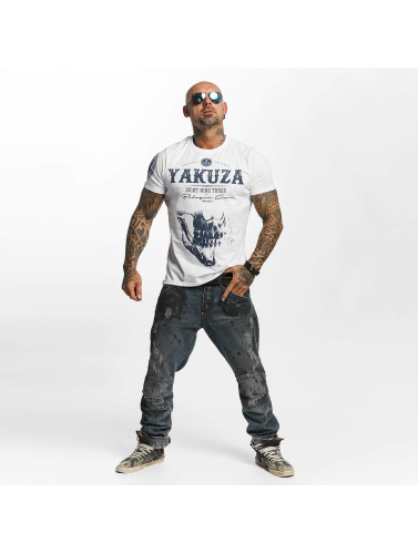 Yakuza Mens T-shirt Crâne Quotidien En Blanc