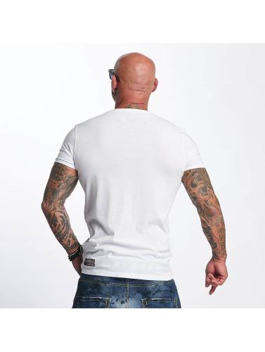 Yakuza Herren T-Shirt Basic Line V-Neck in weiß
