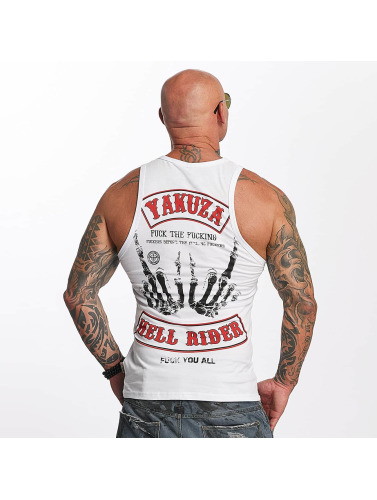 Yakuza Herren Tank Tops Hell Rider in weiß