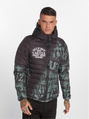 Yakuza Herren Winterjacke Allover Label Quilted in schwarz