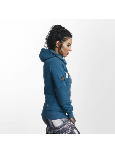 Yakuza Damen Zip Hoodie Daily Skull High Neck in blau
