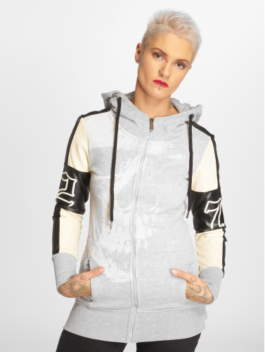 Yakuza Damen Zip Hoodie Long Skull Mixed in grau