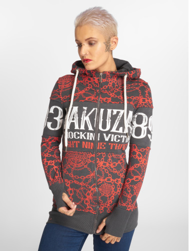 Yakuza Damen Zip Hoodie Allover Chains in grau