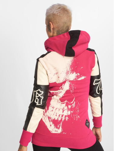 Yakuza Damen Zip Hoodie Skull Mixed Long in pink