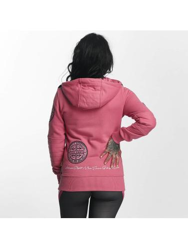 Yakuza Damen Zip Hoodie Daily Skull High Neck in pink