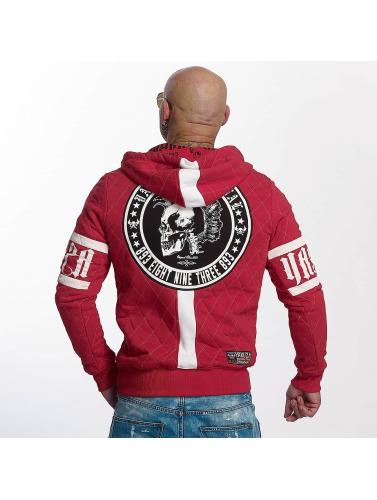 Yakuza Herren Zip Hoodie Punx Quilted in rot