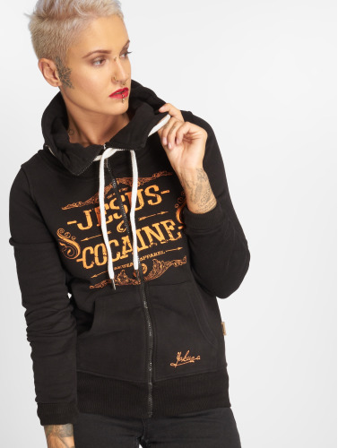 Yakuza Damen Zip Hoodie Jesus or Cocaine in schwarz