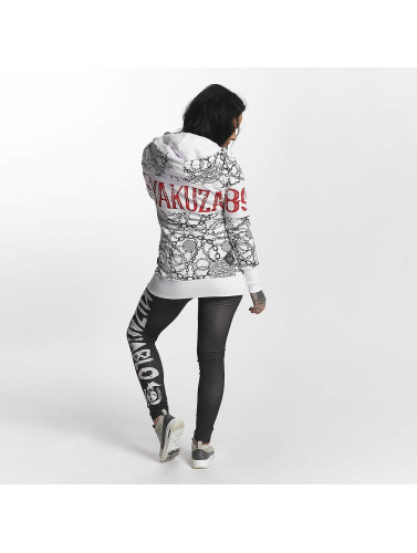 Yakuza Damen Zip Hoodie Allover Chains in weiß