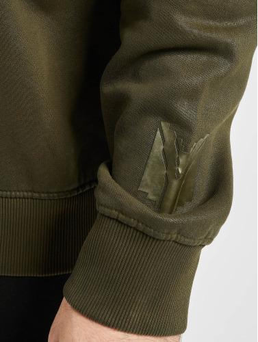 Yezz Hombres Sudadera Django Leather in oliva