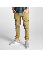 2Y Jeans ajustado Denim Jogger beis