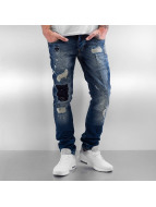 2Y Jeans Straight Fit Patchwork bleu