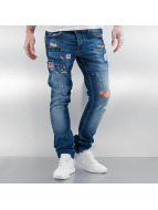 2Y Jeans Straight Fit Patches bleu