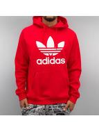 adidas Bluzy z kapturem Trefoil czerwony