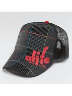 Alife & Kickin trucker cap Lines zwart