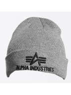 Alpha Industries Beanie 3D grau