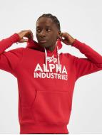 Alpha Industries Bluzy z kapturem Foam Print czerwony