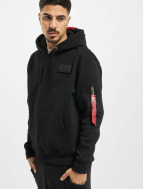 Alpha Industries Hoodie Red Stripe black