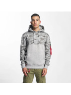Alpha Industries Hoodies Camo Block šedá