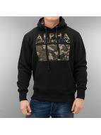 Alpha Industries Sweat à capuche Camouflage Print noir