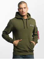 Alpha Industries Sweat à capuche Red Stripe vert