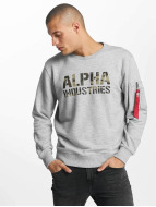 Alpha Industries Swetry Camo Print szary