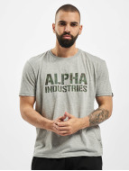 Alpha Industries T-Shirt Camo Print gris