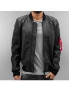 Alpha Industries Veste & Blouson en cuir MA-1 Leather LW || noir