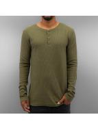 Authentic Style Tričká dlhý rukáv Henley olivová