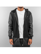 Bangastic long leather Zip Hoody Black