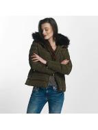 Brave Soul Kurtki zimowe Brave Soul Fur Collar Winter Jacket khaki