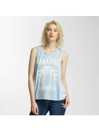Brave Soul Printed Burn Out Tank Top Blue