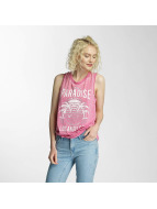 Brave Soul Tank Tops Printed Burn Out Vest vaaleanpunainen