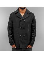 Cipo & Baxx Abrigo Fake Leather Sleeves negro