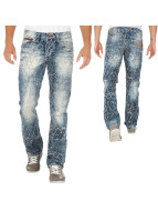 Cipo & Baxx Jeans Straight Fit Grid bleu
