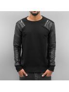 Cipo & Baxx Pullover Fake Leather schwarz