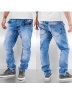 Cipo & Baxx Straight Fit Jeans Zipper blå