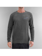 Clang Pullover Oilwashed Knitted grau