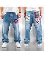 Dangerous DNGRS Baggy jeans Mother Fucking Crew blå