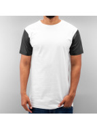 PU Sleeve T-Shirt White...