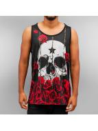 Dangerous DNGRS Tanktop Skull Roses zwart