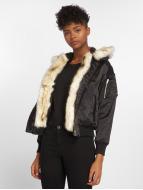 DEF Bomberjack Fake Fur zwart