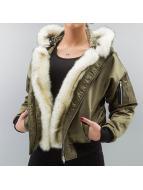 DEF Kurtka pilotka Fake Fur oliwkowy