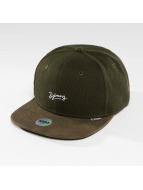 Djinns snapback cap 6 Panel Piki Leather bruin
