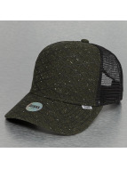 Djinns trucker cap Rubber Tweed High Fitted olijfgroen
